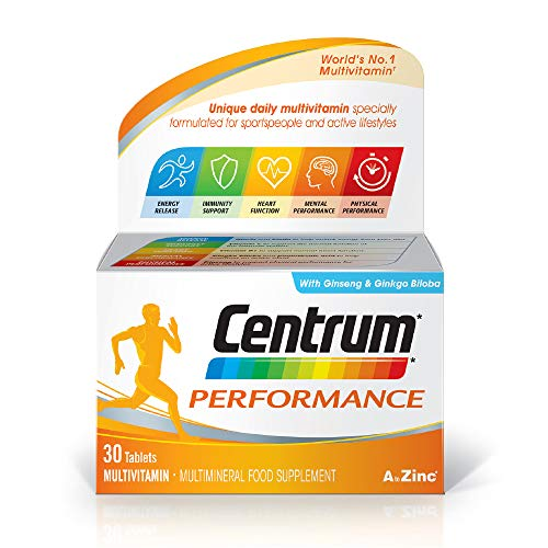 Centrum Performance Multivitamins and Minerals Tablet, 30 Tablets, Unique Daily Multivitamin Specially Formulated for Sports People and Active Lifestyles, Ginseng Ginkgo Biloba, Complete from A - Zinc