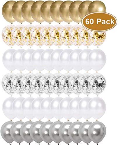 Luftballons Gold Silber, Konfetti Balloons, Ballons Weiß, Heliumballons, Hochzeitsballons, 60 Stück 12 Zoll Latex Luftballons für Geburtstag Hochzeit Taufe