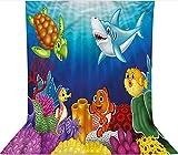 Fondo de telón de fondo de 1,8 x 2,7 m, decoración exótica del mundo del océano feliz telón de fondo de tela de microfibra, pantalla plegable de alta densidad para fotografía de vídeo y televisión