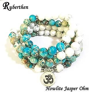 Gabcus High Quantity Natural Stone Bracelet 108 Mala Yoga Necklace Matte Amazonite S Jewelry Hot Sale 2018 - (Metal Color: Howlite Jasper Ohm)