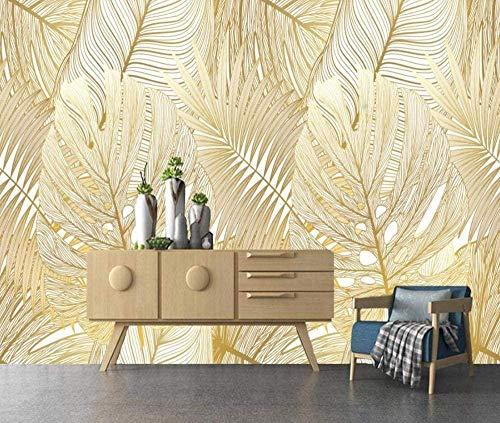 Papier Peint 3D Intissé Plante De Feuille De Bananier Tropical Abstrait Doré Papier Peints Décoration Murale 400x280cm