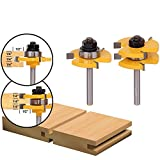 2 pcs Tongue and Groove Router Bit 1/4 Inch Shank Grooving Router Bits T Shape 3 Teeth Wood Milling Cutter