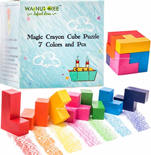 Easter Puzzle Jumbo Crayons [Montessori] for Toddlers ages 4-8 | Child Development Art & Activity Set | Easter Puzzle Crayons | Non Toxic 7 Colors & Pcs |Palm Grip for Toddlers/Children, Non Toxic