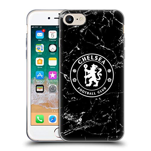 Head Case Designs Offizielle Chelsea Football Club Schwarz Marmor Wappen Soft Gel Huelle kompatibel mit Apple iPhone 7 / iPhone 8 / iPhone SE 2020