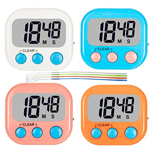 Digital Kitchen Timer, 4 Pack Classroom Timers for Teachers Kids, Loud Alarm, Strong Magnetic Backing Stand, Count Up Countdown Timer with ON/Off Switch for Cooking Baking Homework Game Exercise