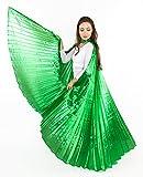 Turkish Emporium Isis Wings Für Bauchtanz tanz Schleier Flügel Schleier Zubehör Kostüme Fasching Karneval con barre di metallo verde Taglia unica