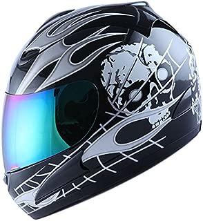 WOW Motorcycle Full Face Helmet Street Bike White Flame Skull Black