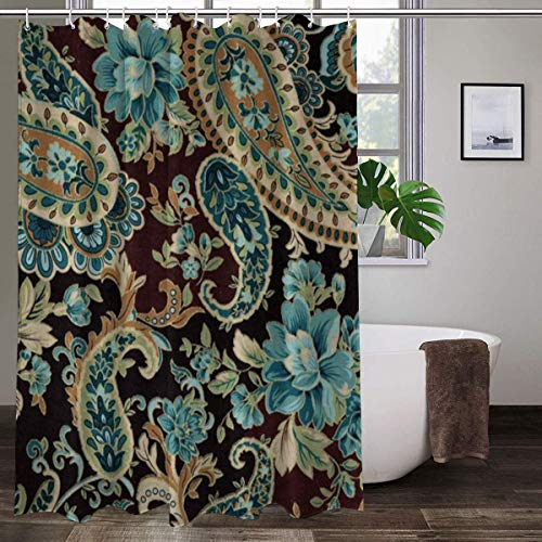 Brown Turquoise Paisley Shower Curtain Modern Bathroom Home...