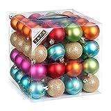 64 Christbaumkugeln 6cm Kugelbox Kunststoff bruchfest // Dekokugeln Weihnachtskugeln Baumkugeln Baumschmuck Set Inge-Glas Plastik PVC 60mm (Mille-Fiori) - 5