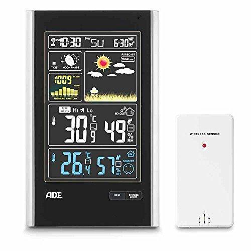 ADE Wetterstation WS 1600 (Digitale Profi Funkwetterstation mit Thermometer, Hygrometer, Barometer, LED Farbdisplay, Mondphasen, USB und Außensensor)