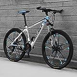 Bicicleta De Montaña, Bici De Montaña Completa De La Suspensión, Adulto 26' Bicicleta De Acero Marco, 21/24/27/30 Velocidad Completo Bicicleta Dual Disco Freno MTB,A,21 Speed