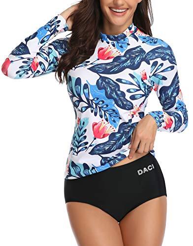 Daci Women Rash Guard Long Sleeve Zipper Bathing Suit with Built in Bra Swimsuit UPF 50 Blue Flower S