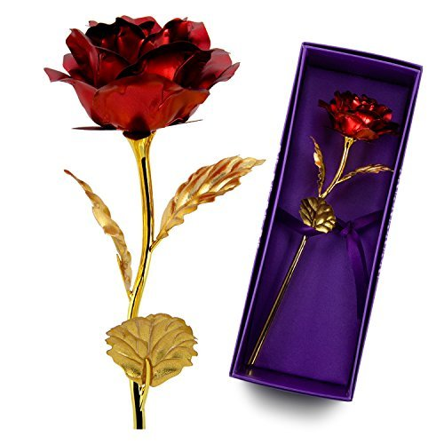 Unite Stone 24k Gold Rose, Artificial Flowers Red Rose Flowers Artificial for Decoration,Great Gift for Girlfriend Gift,Wedding,Mom Gifts,Birthday