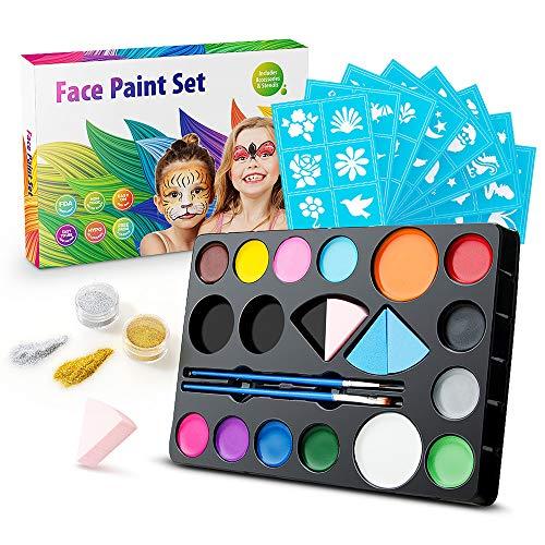 Jelife Pintura Facial Niños, Pintura Cara para Niños y Adultos, Kit de Pintura de la Cara 14 Colores, Maquillaje Niños Infantiles para Carnaval, Fiestas Temáticas, Cosplay, Cumpleaños, Navidad