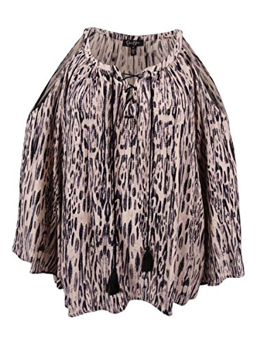 Jessica Simpson Womens Plus Printed Cold Shoulder Tunic Top Beige 2X