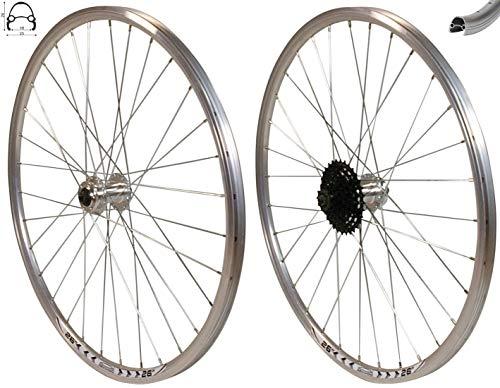 Redondo 26 Zoll Laufrad Set Vorderrad Hinterrad Felge Disc Silber + 8 Fach Kranz