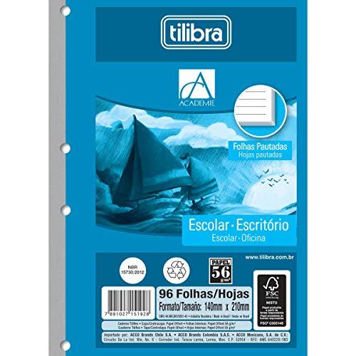 Refil Tiliflex para Caderno Argolado 1/4 , Tilibra, Académie, 151921, Pequeno, 14x20cm, Azul, 96 Folhas