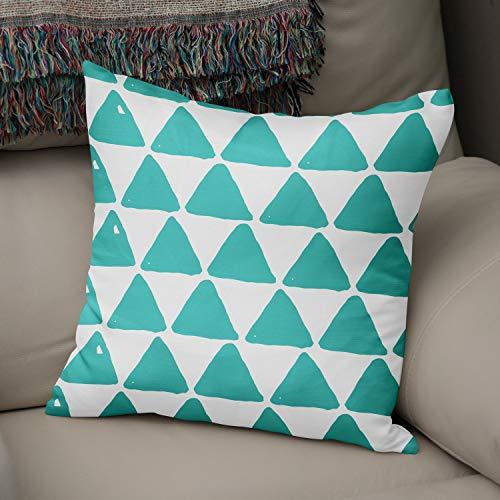 Bonamaison Triángulos Fundas para Cojínes, Cotton, Verde Azulado, 43x43 Cm