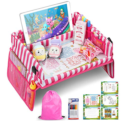 Jojoin Kinder Reisetisch, Multifunktion Knietablett Reisetisch, Faltbar und Verstellbar Auto Kindersitz Spieltisch mit 5 Zeichenpapier und 6 Farbstifte (Pink Gestreifte)