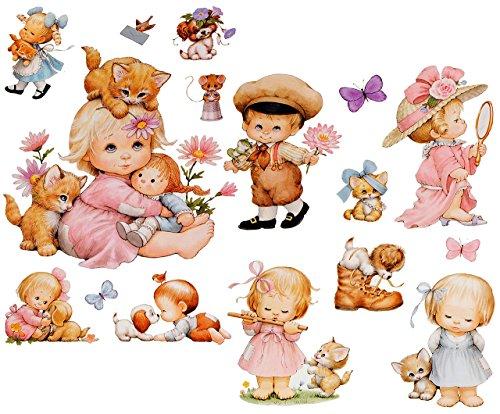 alles-meine.de GmbH 16 TLG. Set _ Wandtattoo / Sticker + Fensterbilder -  Morehead - Kinder & Tiere  - Wandsticker + Fenstersticker - Aufkleber für Kinderzimmer - Tier Baby - K..
