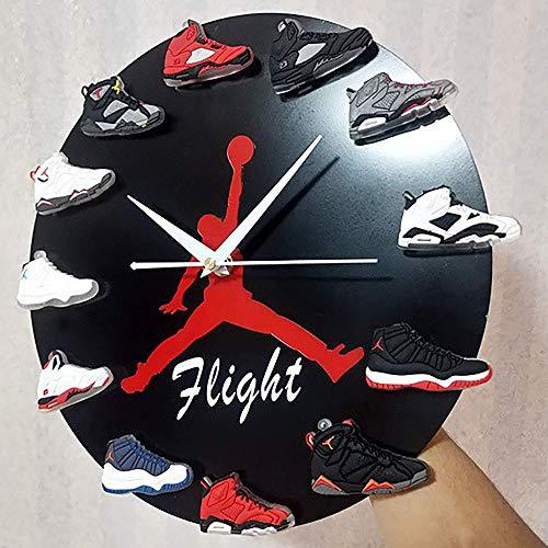 YYG Reloj De Pared Jordan De 12, Reloj De Mini Zapatillas 3D con 1 A 12 Mini Zapatillas, Decoración del Hogar para Fanáticos De Los Deportes,Negro,