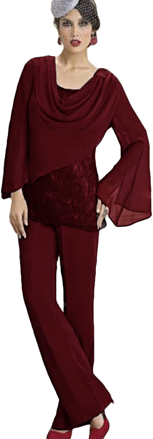 Xixi House Women's Chiffon Pants Suit for Mother of The Bride Special Occasion 2021 Lace Wedding Guest Outfits