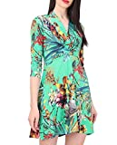 Revdelle – Vestido corto con cuello en V fabricado en Francia de manga corta para mujer, estampado floral verde S
