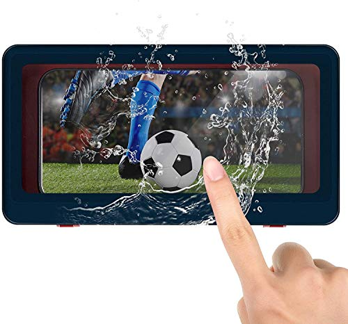 Shower Pro - Mountable Case, Shower Phone Holder Waterproof Anti-Fog Touch Screen Wall Mount Phone Holder, fits All Mobile Phones Under 6.8 inches, for Bathroom Mirror (blue)