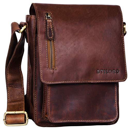 STILORD \'Finn\' kleine Umhängetasche Herren Schultertasche Vintage Messenger Bag 8,4 Zoll Tablettasche echtes Büffel-Leder, Farbe:Cognac - Dunkelbraun