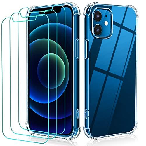 ivoler Funda Compatible con iPhone 5,4 Pulgadas 12 Mini con 3 Unidades Cristal Vidrio Templado Protector de Pantalla Fina Silicona Transparente TPU Carcasa Airbag Anti-Choque Anti-arañazos Caso