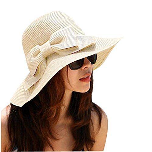 TININNA Cappello da Sole,Donne delle Ragazze Spiaggia di Modo Anti-UV Decorazione Arco Tesa Larga Cappello di Paglia del Sole(Beige)
