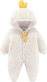 طفل الفتيان الفتيات رومبير الشتاء الوليد الدافئة الصوف أبلى بذلة الزي ملابس الأطفال (Color : White, Size : 9-12 Months)