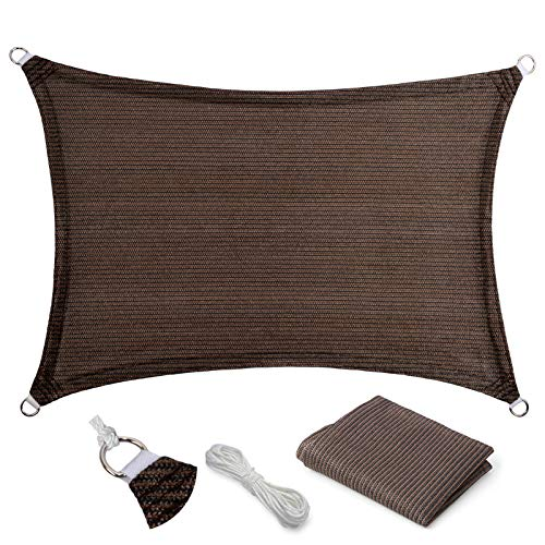 Eden's Decor Curved Rectangle 10' X 12' Brown UV-Blocking Sun Shade Sail Fabric for Patio Outdoor and Swimming Pool