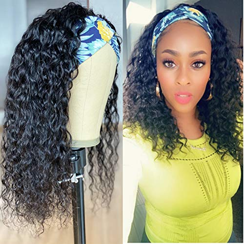 Water Wave Curly Headband Wig Real Human Hair for Black Women Afro Non Lace Front Glueless Headband Wigs with Headband Attached for African American Natural Color (14 inch)