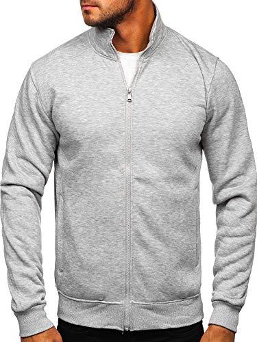 BOLF Herren Sweatshirt mit Reißverschluss und Stehkragen Sweatjacke Collegejacke Langarmshirt Zip Fitness Training Sport Basic Einfarbig Uni Casual Style J.Style B002 Grau XL [1A1]