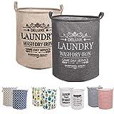 LessMo 2PCS 17.7' Wäschekorb Sortierer – Faltbar - 2er Set Wäschesammler spart Zeit beim Sortieren - Wäschesack - Wäschekörbe - Laundry Baskets - 45 x 35 cm(Grün/Gelb, Verdickt 17,7'/ Medium)