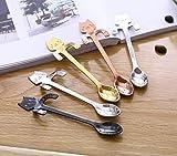 Cuchara de gato de 5 piezas Cuchara mezcladora de acero inoxidable chapada en oro Taza colgante de gato de dibujos animados Cuchara de café Juego de cuchara de té de café Cuchara de té de taza