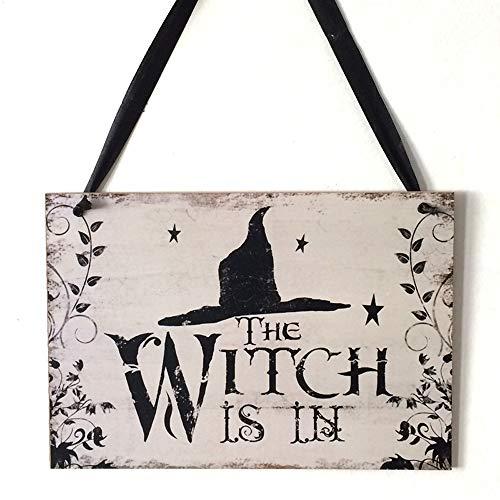 YWLINK Wand Deko Holzschild,Halloween Party Speichern Familie Dekoration TüR-Schilder Mit Kordel Zum AufhäNgen The Witch is In