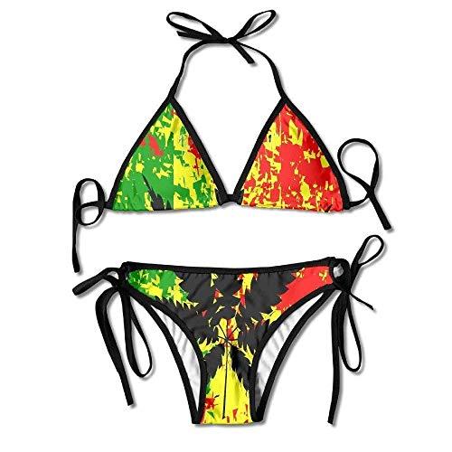 VTYOSQ Damen Beach Wear Bikini Sets Weed Leaves Badeanzüge