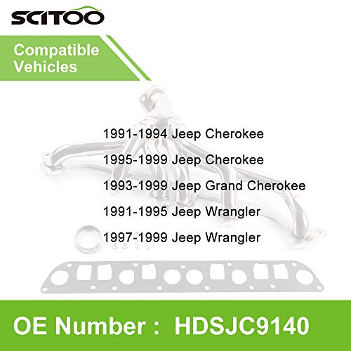Scitoo Auto Replacement Exhaust Manifold Kits, Exhaust Header Manifold Set Stainless Steel fit for Jeep Cherokee XJ 4.0L 6CYL 91 92 1993-1999