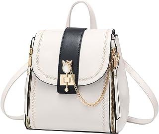 NIYUTA Frauen Rucksack Mode Reisen Leder Schulter Crossbody Vintage Casual Cute College Umhängetaschen Weiß