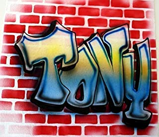 Airbrush Graffiti Brick Wall - Youth/Adult T-Shirt - Custom Personalized with Name