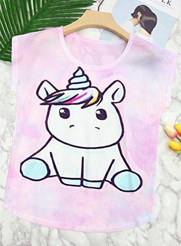 Futurino Women's Summer Colorful Bow Tie Unicorn Print Short Sleeve T-Shirt Tops 4