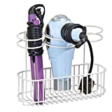 styling tools organizer - mDesign Wall Mount Bathroom Hair Care & Hot Styling Tool Organizer Storage Basket for Hair Dryer, Flat Irons, Curling Wands, Hair Straighteners, Brushes, Combs - 3 Sections - White