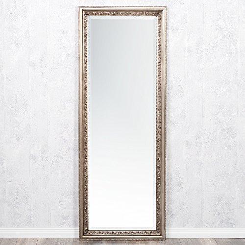 LEBENSwohnART Wandspiegel ARGENTO barock 180x70cm Spiegel Silber-Antik Holzrahmen und Facette