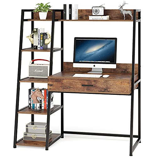Tribesigns Computer Desk with Shelves and Drawer, Industiral Home Office Ladder Desk with Hutch in Rustic for Small Space (Rustic)