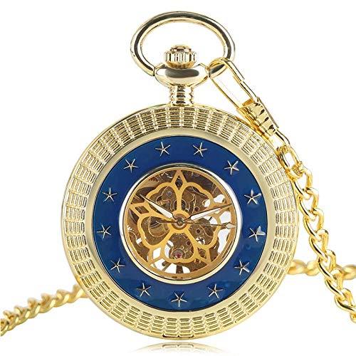 DZNOY Reloj de bolsillo, chapado en oro, con colgante mecánico exquisito, hecho a mano, para hombres y mujeres, con diseño de cinco estrellas, cadena de regalos (color: dorado)