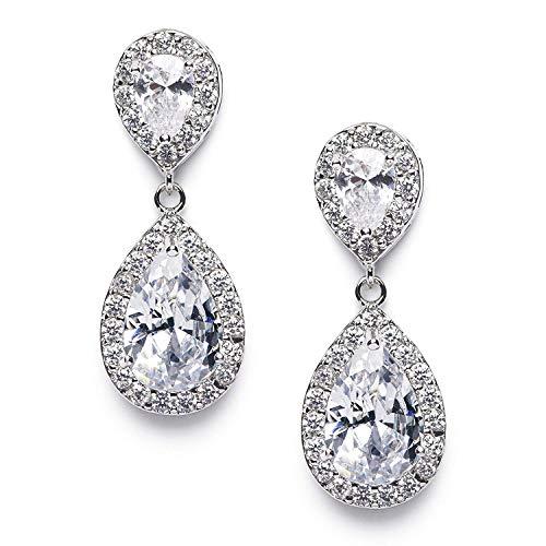 SWEETV Teardrop Dangle Earrings for Brides,Cubic Zirconia Drop Earrings for Women - Prom,Pagegant,Wedding Jewelry, Clear
