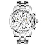 Guanqin, orologio da polso da uomo con display analogico sportivo, a carica automatica, in acciaio inox, con data, luminoso, impermeabile, colore: argento e bianco