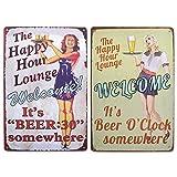 LZYMSZ 2 carteles de metal de la lata de The Happy Hour Lounge Pin-up Girl Cartel vintage de metal de la lata, placa de garaje para decoración de la pared del bar del hogar